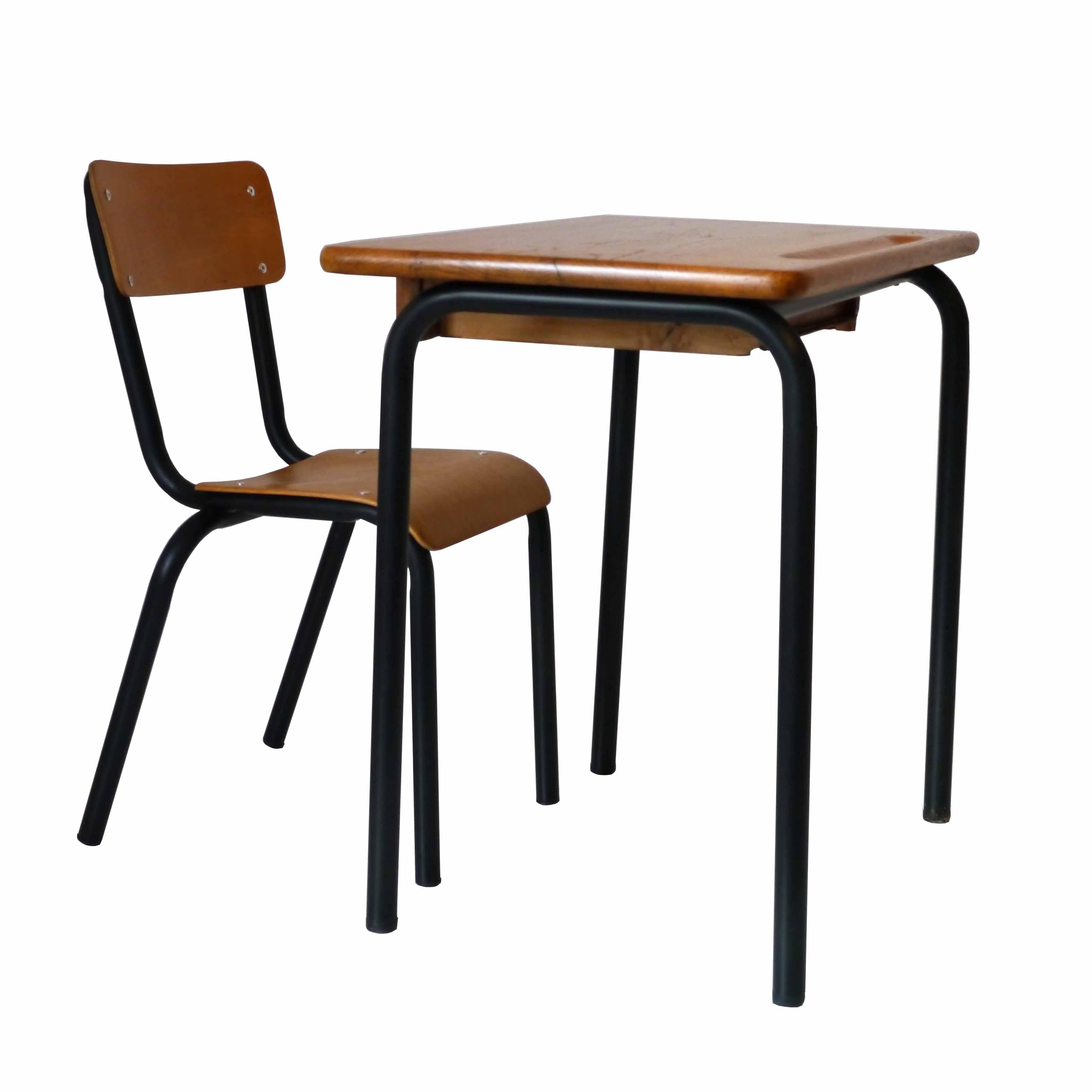 Bureau ecolier noir la marelle mobilier vintage pour for Table bureau noir